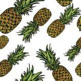 Modèle sans couture avec des ananas Images libres de droits