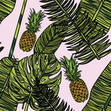 Modèle sans couture avec des ananas Photo libre de droits