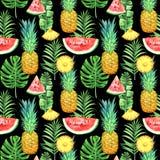 Modèle sans couture avec des ananas, des pastèques et des feuilles tropicales sur le fond noir Illustration tropicale d'aquarelle Photo libre de droits