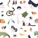 Modèle sans couture avec des animaux familiers sur le fond blanc Contexte avec les animaux domestiques de bande dessinée mignonne illustration stock