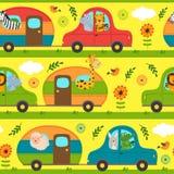 Modèle sans couture avec des animaux voyageant dans la maison sur des roues illustration de vecteur