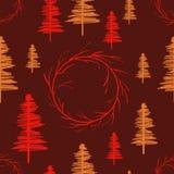 Modèle sans couture avec des arbres et des amarantes illustration de vecteur