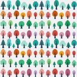 Modèle sans couture avec des arbres plats illustration stock
