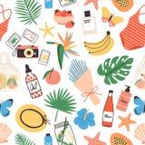 Modèle sans couture avec des attributs d'été sur le fond blanc - feuilles exotiques, bouquet, maillot de bain, chapeau de paille, illustration stock