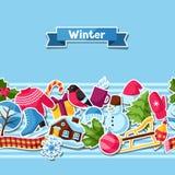 Modèle sans couture avec des autocollants d'hiver Articles de vacances de Joyeux Noël, de bonne année et symboles Image libre de droits