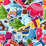 Modèle sans couture avec des autocollants d'hiver Articles de vacances de Joyeux Noël, de bonne année et symboles Image stock