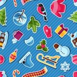 Modèle sans couture avec des autocollants d'hiver Articles de vacances de Joyeux Noël, de bonne année et symboles Photos stock