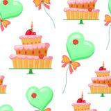 Modèle sans couture avec des ballons, gâteaux Photo stock