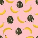 Modèle sans couture avec des bananes et des feuilles tropicales Fond hawaïen de style avec des plantes tropicales de jungle et de Photos stock