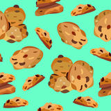 Modèle sans couture avec des biscuits de farine d'avoine Photo libre de droits