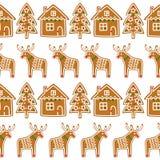 Modèle sans couture avec des biscuits de pain d'épice de Noël - arbre de Noël, cerf commun, maison Photographie stock libre de droits