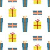Modèle sans couture avec des boîte-cadeau sur le fond blanc Photos libres de droits