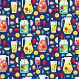 Modèle sans couture avec des boissons d'été Photos libres de droits
