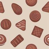 Modèle sans couture avec des bonbons au chocolat illustration de vecteur