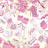 Modèle sans couture avec des bottes de femmes et des accessoires de mode Image libre de droits