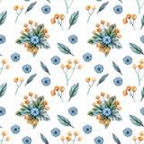 Modèle sans couture avec des bouquets des wildflowers pour un mariage illustration stock