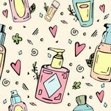 Modèle sans couture avec des bouteilles de cosmétiques illustration de vecteur