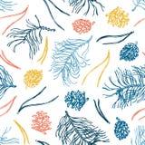 Modèle sans couture avec des branches de pin, des cônes de pin et des aiguilles Le style de croquis Jaune, rouge et bleu Tiré par Photographie stock libre de droits