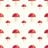Modèle sans couture avec des champignons d'amanite Illustration Stock