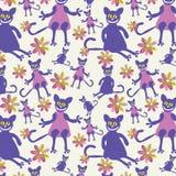 Modèle sans couture avec des chatons de courbes illustration stock