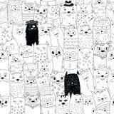 Modèle sans couture avec des chats de griffonnage Photo libre de droits