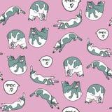 Modèle sans couture avec des chats de sommeil illustration libre de droits