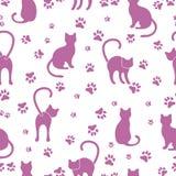 Modèle sans couture avec des chats et des traces illustration de vecteur