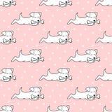 Modèle sans couture avec des chiens de bande dessinée sur le fond rose illustration stock