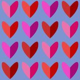 Modèle sans couture avec des coeurs dans des tons roses et rouges Images libres de droits