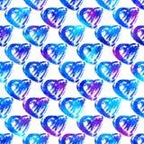 Modèle sans couture avec des coeurs de brosse Couleur bleue sur le fond blanc Texture peinte à la main de grange Éléments de gran Photos stock