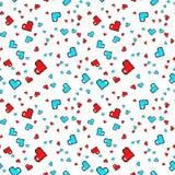Modèle sans couture avec des coeurs de pixel Rose rouge Fond de vecteur Photos stock