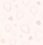 Modèle sans couture avec des coeurs et des spirales des points Photo libre de droits