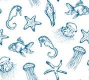 Modèle sans couture avec des créatures de mer Images libres de droits