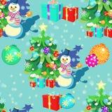 Modèle sans couture avec des décorations de Noël, cadeaux, bonhomme de neige, sno Photo stock