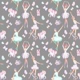 Modèle sans couture avec des danseurs classiques d'aquarelle, des licornes de marionnette, des papillons et des chaussures de poi illustration libre de droits