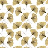 Modèle sans couture avec des feuilles de biloba de Ginkgo Photographie stock