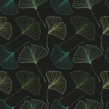 Modèle sans couture avec des feuilles de biloba de Ginkgo Photo stock