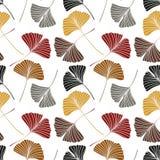 Modèle sans couture avec des feuilles de biloba de Ginkgo Image stock