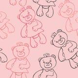 Modèle sans couture avec des filles d'ours Photos libres de droits