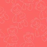 Modèle sans couture avec des filles d'ours Image stock