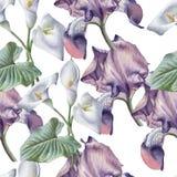 Modèle sans couture avec des fleurs d'aquarelle Image stock