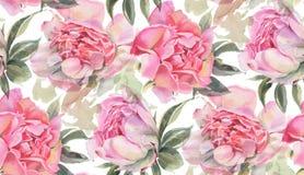 Modèle sans couture avec des fleurs d'aquarelle pivoines Images stock