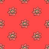 Modèle sans couture avec des fleurs dans des couleurs de cerise Photographie stock libre de droits