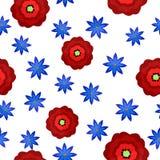 Modèle sans couture avec des fleurs dans le style plat illustration de vecteur