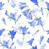 Modèle sans couture avec des fleurs de jacinthe des bois illustration de vecteur