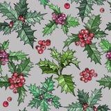 Modèle sans couture avec des fleurs de Noël et des baies rouges illustration de vecteur