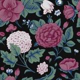 Modèle sans couture avec des fleurs de vintage. illustration de vecteur