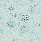 Modèle sans couture avec des fleurs et des lignes d'enroulement Ethnique, floral, rétro, griffonnage, élément tribal de conceptio illustration de vecteur