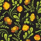 Modèle sans couture avec des fleurs sur un noir illustration stock