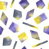 Modèle sans couture avec des formes géométriques texturisées peintes à la main d'aquarelle illustration libre de droits